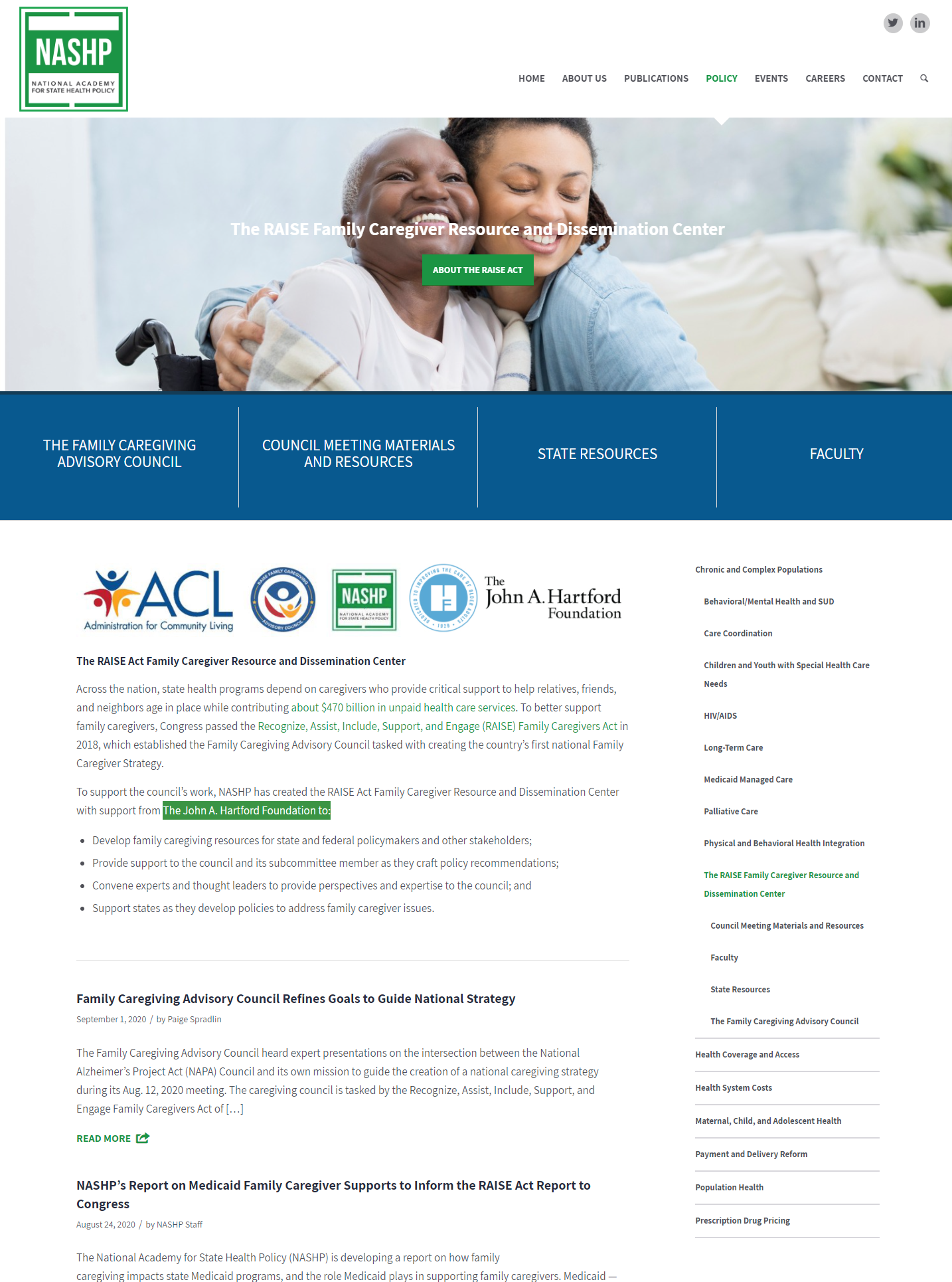 The RAISE Family Caregiver Resource and Dissemination Center