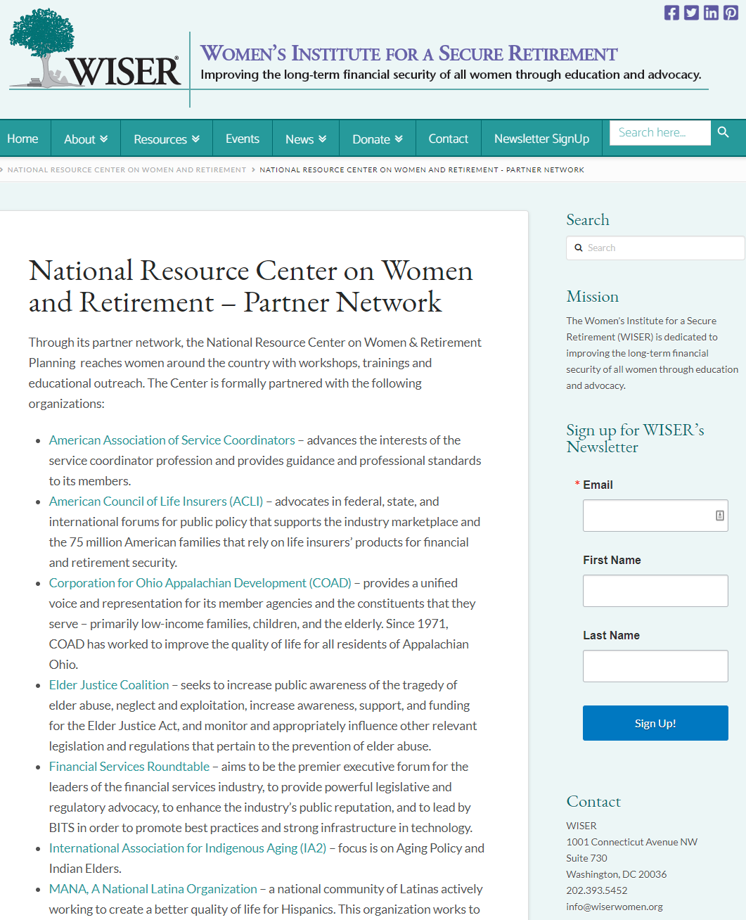 National Resource Center on Women and Retirement